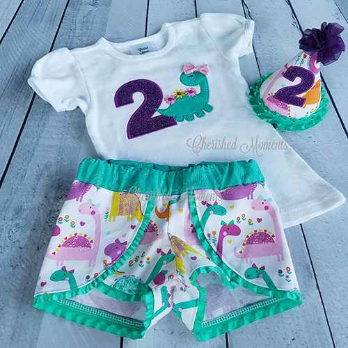 cd32f1d14 Birthday Girl Dinosaur Outfit | Cherished Moments